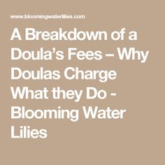 A Breakdown of a Doula's Fees – Why Doulas Charge What they Do - Blooming Water Lilies