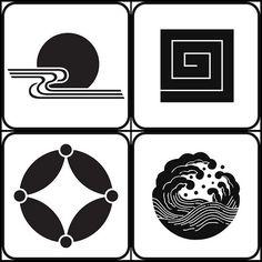 kurodadukinimizu, inazuma, hoshishippo, nami (natural - kamon) - japanese family crests, via peacay