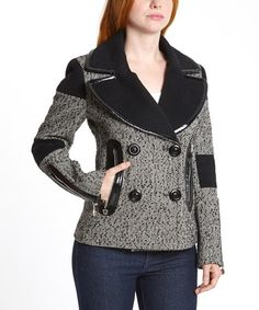Take a look at this Black & White Herringbone Wool-Blend Peacoat on zulily today!