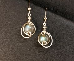 Labradorite Fine Sterling Silver Earrings by LeesEarringBoutique