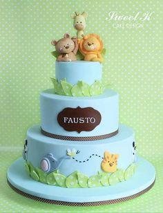Safari baby boy cake