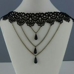 Romantic lace chocker necklace Black lace, metal chains with tear drop beads. Lobster clasp with chain extender. Jewelry Necklaces