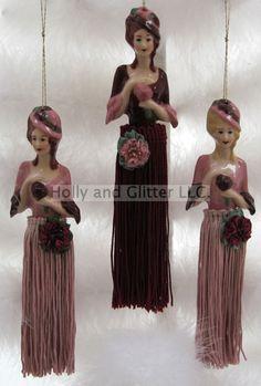 Victorian Doll Tassel Ornaments, 4 Styles