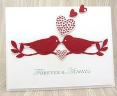A Valentine's Card using the Stampin' Up! Bird Builder Punch and the Hearts a Flutter Stamp set:) by maria beatriz
