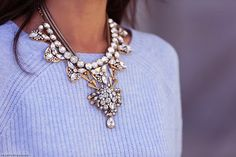 statement necklace, chunky sweater