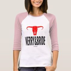 Merry & Bride & Bull by Vimago T-Shirt - bridal gifts bride wedding marriage