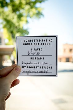 Are you in? Here's a free downloadable card to use as you complete the No Money…