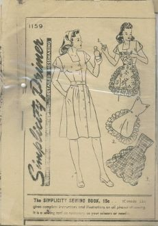 1940's 1944/45 Simplicity Pattern 1159. Square neckline dress with full-length center front button closure. APRON  attaches with buttons at neckline and waist.