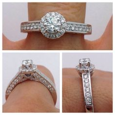 Round Halo 1 Carat Diamond Engagement Ring  by LuxinelleJewelry