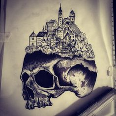 New drawing waiting for your skin and print Contact Me at handjob.booking@gmail.com #black #ink #skull #city #flashworkers #illustration #print #onlyblacktattoo #Gael_Cleinow #hand_job_tattoo  #berlin #btattooing #blacktattooart #blackworkerssubmissions #BLXCKINK #blackworkers