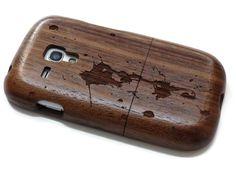 wooden Samsung Galaxy S3 Mini  - wooden S3 mini case walnut / cherry or bamboo -  Paint splash