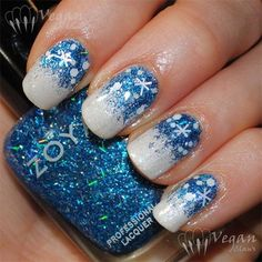 Nail Art Design With Blue Glitter Snowflake On White Gel Nails Polish Holiday Nail Art, Christmas Nail Art Designs, Winter Nail Art, Winter Nail Designs, Winter Nails, Autumn Nails, Snow Nails, Xmas Nails, Christmas Nails