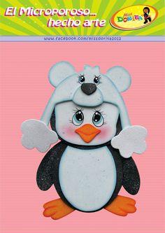 Miss Dorita: Molde del video del Pinguino Cute Animals Images, Animals For Kids, Christmas Town, Felt Christmas, Painting For Kids, Art For Kids, Toddler Videos, Felt Templates, Penguin Love