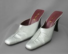 Street Chic silver open back shoes, pointed toes, size 5uk (38) FREE post UK