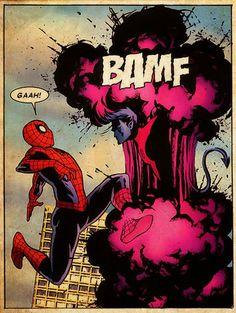 comicbookartwork:    Spider-Man and Nightcrawler    Astonishing X-Men