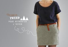 Like- Navy blue top with gray mini