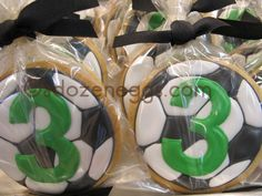 SOCCER BALL Cookie Favors Soccer Party Favors, Soccer Birthday Parties, Ball Birthday, Birthday Cookies, Soccer Treats, Soccer Snacks, Football Cookies, Cookies For Kids, Cute Cookies