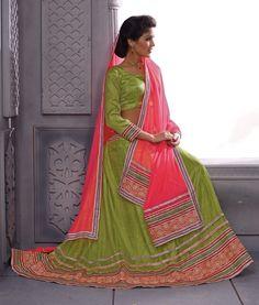 Green Color Net Semi Stitch Lehenga