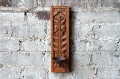 Vintage Candle Holder Sconce Hand Carved by hammerandhandimports Vintage Candle Holders, Wall Candle Holders, Vintage Candles, Wood Sconce, Candle Sconces, Carved Wood, Hand Carved, Honey Colour