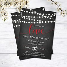 Engagement Invitation | String Lights | Come for the Love, Stay for the Party | Engagement Invitation | Red and Black | Rustic | Mason Jar This listing is for a PRINTABLE single-sided invitation for you to print at home or print through a print shop. This card comes as 5x7 or 6x4. Everything is sent through email only for you to print yourself. Nothing will be shipped to you, so no more waiting or paying for the post! This can also be turned into an actual wedding invitation at no…