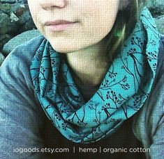 Hemp Circle Scarf Teal and Black Botanical Print by IOGoods