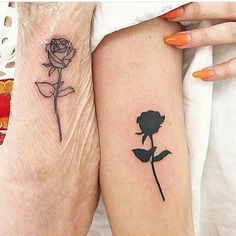 60 Meaningful Unique Match Couple Tattoos Ideas When most people decide to get a tattoo inspired by love, the first thing that usually comes to mind is getting their lover's name tattooed in one fancy cursive font or another. Small Black Tattoos, Black Rose Tattoos, Tattoos For Women Small, Tattoo Small, Small Matching Tattoos, Trendy Tattoos, New Tattoos, Tatoos, Floral Tattoos