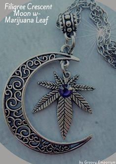 Filigree Crescent Moon w-Marijuana Leaf. Perfect for a #StonerValentineGift #420 #MarijuanaJewlery #WeedLeaf #StonerValentinesGiftIdeas