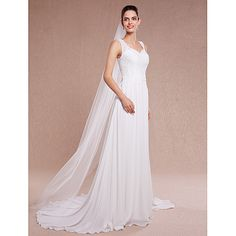 One-tier Cut Edge Wedding Veil Chapel Veils With 78.74 in (200cm) Tulle 2018 - $13.19
