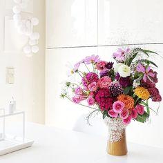 Auf der Mammilade|n-Seite des Lebens | Personal Lifestyle Blog | Blumen | Dahlien | bunter Herbstblumenstrauß | Vintage Vase | Kosmea