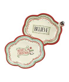 Loving this 'Believe' & 'Merry Christmas' Nest Serving Tray Set on #zulily! #zulilyfinds