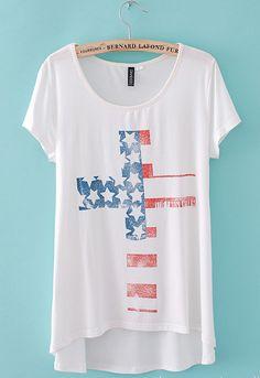 American Flag Cross  T