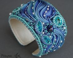 Cuff bracelet with shibori ribbon and Swarovski crystals, bead embroidery bracelet, blue . Cuff bracelet with shibori ribbon and . Ribbon Jewelry, Soutache Jewelry, Beaded Jewelry, Beaded Bracelets, Pearl Necklaces, Jewellery, Gothic Jewelry, Leather Jewelry, Handmade Bracelets