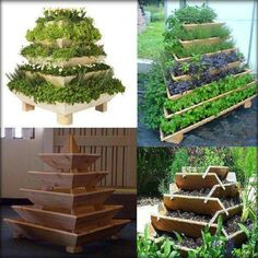 Herb/Vegetable garden tower. Great solution for smaller spaces. What a good idea!
