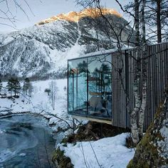 the juvet landscape hotel by jensen & skodvin architects is located in the mountainous landscape of north-western norway. parts of the building were used as the set design in the movie ex machina. see more #architecture on #designboom