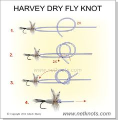 Harvey Dry Fly Knot - This one is for all my fly fishing friends. This is a great knot for dry flies with a down turned eye. Offers great dry fly presentation.