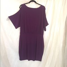 That Dress! You know the one! Cold shoulder eggplant dress. I don't even know if I should sell this. It's the perfect, I have nothing to wear dress. Throw it on, DAMN! I look good. Accessorize it a million different ways. Dresses Midi