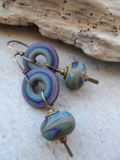 Mystic Waters ... Lampwork and Brass Earrings by juliethelen, $36.00