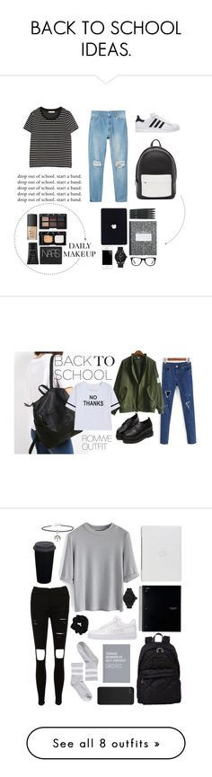 """""""BACK TO SCHOOL IDEAS."""" by pressedtomyneck ❤ liked on Polyvore featuring Monki, Zara, PB 0110, Muse, GUESS, NARS Cosmetics, BackToSchool, makeup, contest and fall2015"""