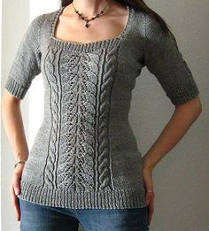 Original Pattern: Labrinyth Knitter Extraordinaire: Jamie (Ravelry Id, Blog) Mods: Revamped the original simple stockinette pullover into a cable and lac