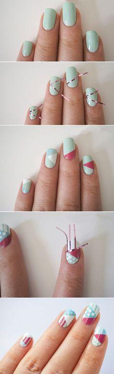 geometric nail art how-to- COOL!!