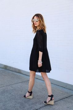 Little Black Dress and Espadrille Sandals