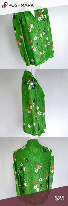 """Vintage 70s Green Floral Nehru Loop Button Top No size or tags, approximately a size large, definitely synthetic fabric, most likely polyester 21"""" armpit to armpit 26.5"""" long 23"""" sleeve, measured from shoulder seam  Nehru collar, loop buttons in front, long sleeves. A tiny threadbare patch on front, some discoloration/yellowing at the collar, and a brown stain one one of front flowers (see last 3 pics)   Wonderfully funky vintage piece! Looks like it may have been hand sewn. Tops Blouses"""