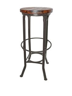 36% OFF Melange Home Industrial Round Bar Stool, Brown