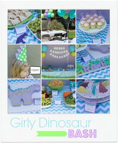 charlotte's dinosaur birthday party - so many great ideas here! invitations, dino footprints, favor bags, party hats, cake, decorations, food
