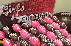Pink Glitter Football Cake Pops for Girls Fantasy Football Draft Party @BA Haggerty / FoodMarriage.com