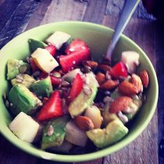 Yes, I am pinning a picture of my breakfast. Fruit, seeds, and nuts. Delish.    Fruit: strawberries, Asian pear, avocado, grapefruit and raisins    Nuts and seeds: raw almonds, unhulled sesame seeds, hemp seeds, pepitas, and sunflower seeds
