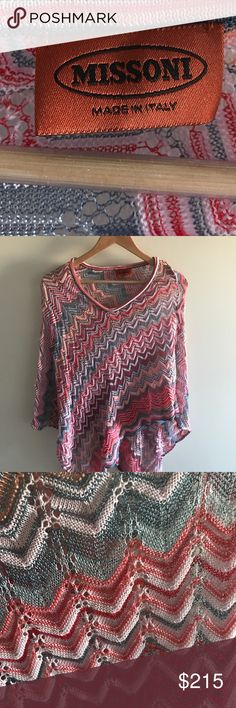 Missoni Crochet Knit Poncho Missoni crochet knit poncho. New!  Never worn. Purchased in Italy. This is in bold shades  of pink, red, blue, melon and lavender. This is great for layering or even just with your favorite swimsuit. Missoni Sweaters Shrugs & Ponchos