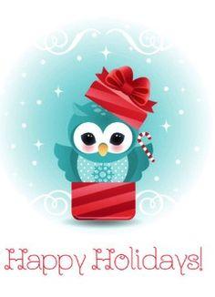 owl Christmas card by Maria Alejandra Parrish of Minercia
