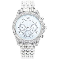 Lane Bryant Plus Size Round face rhinestone watch found on Polyvore featuring jewelry, watches, silver, rhinestone watches, rhinestone jewelry, dial watches and lane bryant