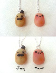 Kawaii and fancy potato pendant handmade by ClayCreationsForEver